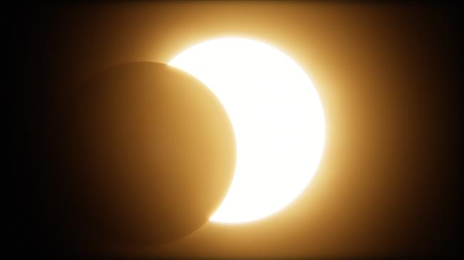 Artists rendtion of a partial solar eclipse.